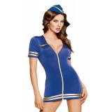 Костюм стюардессы SoftLine Collection Stewardess (платье и головной убор), синий, S/M