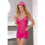 Костюм стюардессы Candy Girl (комбинация, стринги, головной убор), розовый, OS