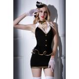 Костюм стюардессы Candy Girl Amber (платье, трусы, перчатки, чулки, галстук, головной убор), черно-белый, OS