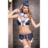 Костюм стюардессы Candy Girl Brandy (топ, трусы, пояс для чулок, галстук, перчатки, чулки, головной убор), сине-белый, OS