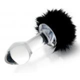 Стеклянная анальная втулка с черным хвостиком - 9,5 см.