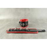Чёрные обернутые наручники с 3 сварными D-кольцами и красным подкладом