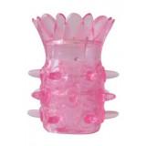 Розовая насадка на пенис с шипиками и лепестками - 6 см.