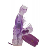 Фиолетовый мини-вибратор со стимулятором клитора - 13 см.